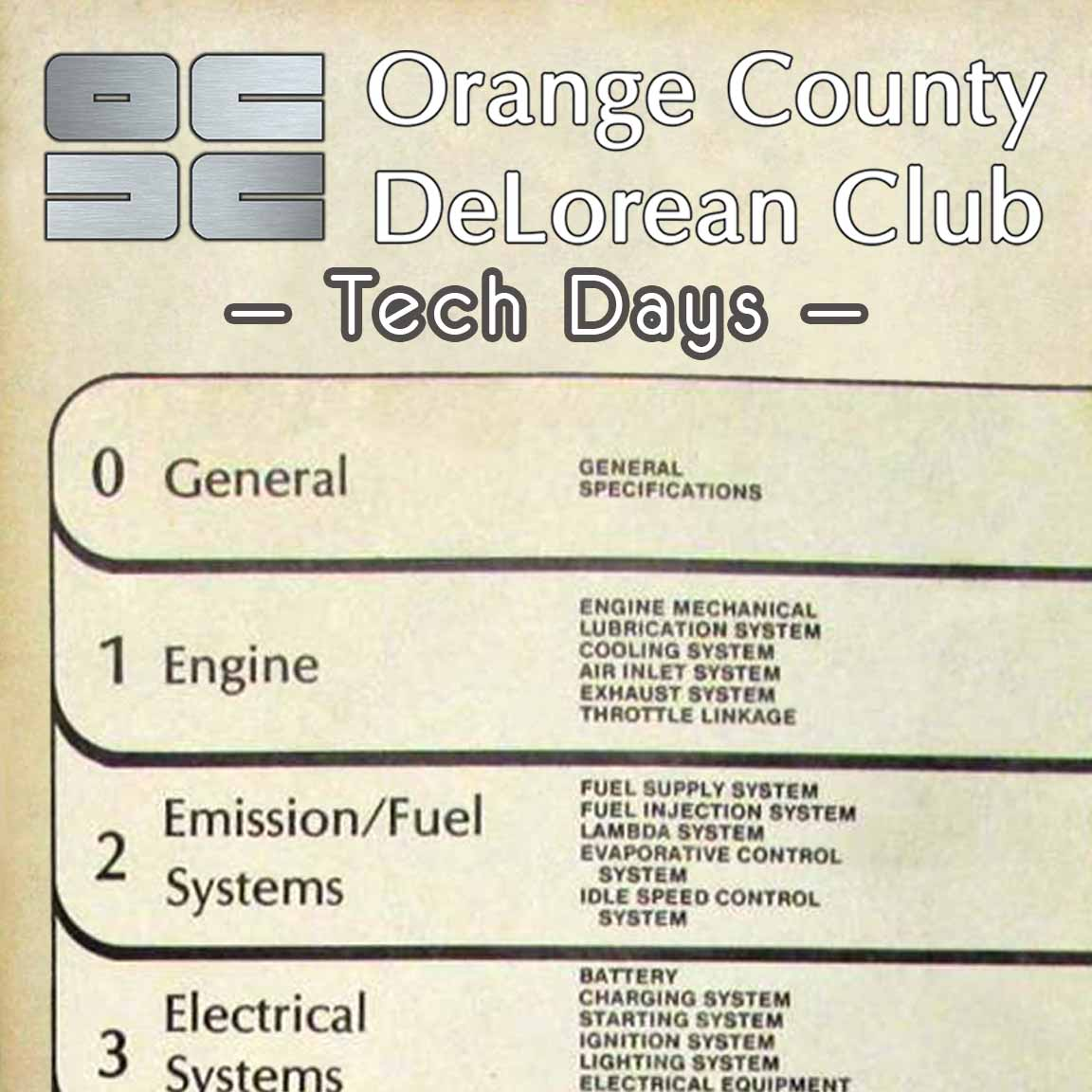 OCDC Tech Days | Orange County DeLorean Club